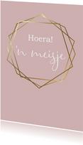 Felicitatie geboorte hexagon, aanpasbare kleur