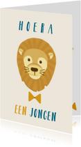 Felicitatie geboorte jongen met leeuw en strik