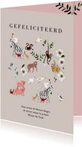 Felicitatie geboorte meisje dieren jungle luiaard