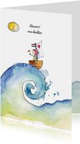 Felicitatiekaarten - Felicitatie geboorte meisje illustratie bootje zee