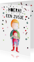 Felicitatiekaarten - Felicitatie geboorte meisje met illustratie jongen en zusje