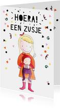 Felicitatie geboorte zusje illustratie baby meisje