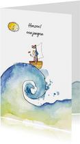Felicitatie geboortekaartje jongen bootje op zee
