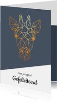 Felicitatie - geometrische giraf met goud