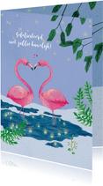 Felicitatie huwelijk, flamingo's