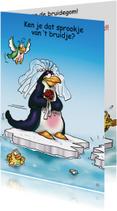 Felicitatie huwelijk pinguins 1 bruid
