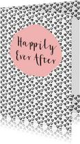 Felicitatie Huwelijk zwartwit hartjes - WW