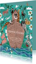 Felicitatie kaart Ark van Noah dieren boot
