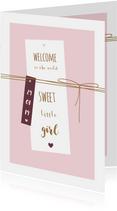 Felicitatie kaart label met lijnen en hartjes