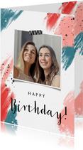 Felicitatie kaart verjaardag vrouw abstract hip