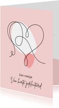 Felicitatie - Lijntekening van groot hart