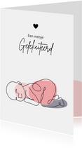 Felicitatie - Lijntekening van slapende baby