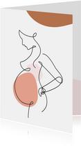 Felicitatie - Lijntekening zwangere vrouw