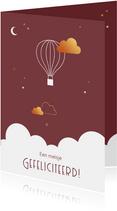 Felicitatie - Luchtballon met wolkje in goudlook