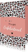 Felicitatie - Luipaard print zalmroze