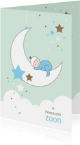 Felicitatie - Maan, sterren en slapend kindje