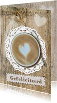 Felicitatie met kopje koffie