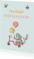 Felicitatie olifantje driewieler