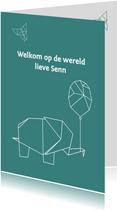 Felicitatie origami olifant
