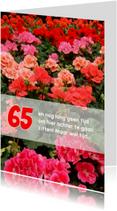 Felicitatie pensioen geraniums
