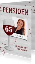 Felicitatie pensioen wijnglas met foto en leeftijd