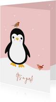 Felicitatie - Pinguïn met vogeltjes
