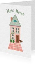 Felicitatie roze huis met groen dak