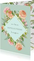 Felicitatie rozen en eucalyptus