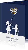 Felicitatie - Silhouet broertje met zus en ballon
