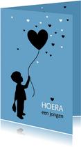 Felicitatiekaarten - Felicitatie - Silhouet jongen met ballon
