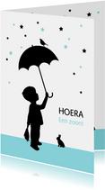 Felicitatiekaarten - Felicitatie - Silhouet jongen met paraplu