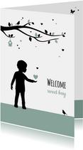 Felicitatie - Silhouet jongetje met boom en hartjes