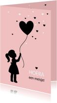 Felicitatiekaarten - Felicitatie - Silhouet meisje met ballon