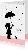 Felicitatie - Silhouet meisje met paraplu