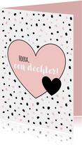 Felicitatiekaarten - Felicitatie - Slordige stippen met hart, roze
