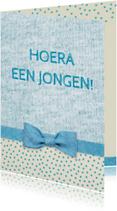 Felicitatie strik geboorte blauw