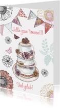 felicitatie taart huwelijk vlag