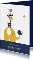 Felicitatie - Torentje met olifant en giraf