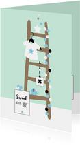 Felicitatiekaarten - Felicitatie - Trapje met sterren, slinger en olifantje
