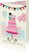 Felicitatie uilen op taart