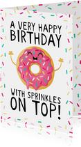 Felicitatie verjaardag donut with sprinkles on top