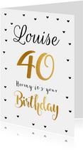Felicitatie verjaardagskaart 40 goud