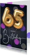Felicitatie verjaardagskaart ballon 65 jaar confetti