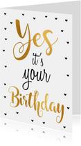Verjaardagskaarten - Felicitatie verjaardagskaart goud Yes