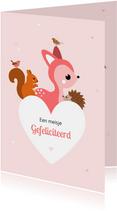 Felicitatie voor een geboorte hart met dieren