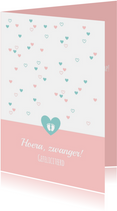 Felicitatiekaarten - Felicitatie - Vrolijke blauwe en roze hartjes