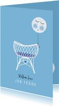 Felicitatie zoon wiegje ballon blauw