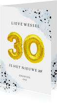 Felicitatiekaart 30ste verjaardag man met cijferballonnen