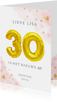 Felicitatiekaart 30ste verjaardag met gouden cijfers