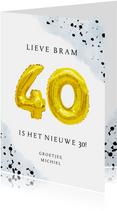 Felicitatiekaart 40ste verjaardag man met cijferballonnen